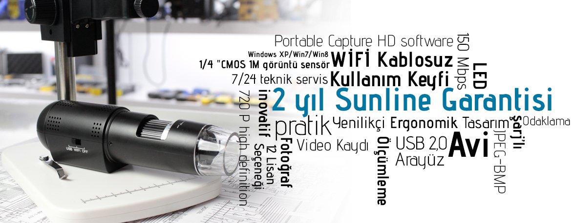 Sunline SL18–200X Dijital Mikroskop USB WIFI Banner